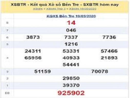 Thống kê KQXSBT- xổ số bến tre thứ 3 ngày 26/05/2020