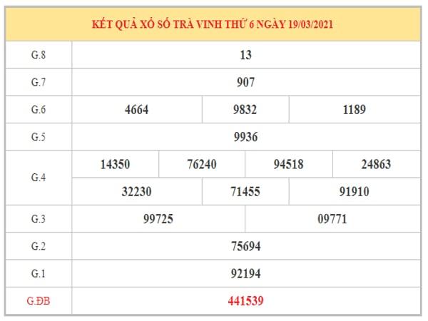 Thống kê KQXSTV ngày 26/3/2021 dựa trên kết quả kì trước