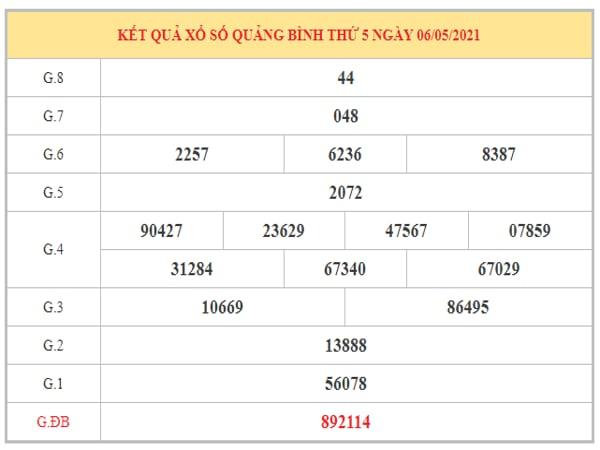 Thống kê KQXSQB ngày 13/5/2021 dựa trên kết quả kì trước
