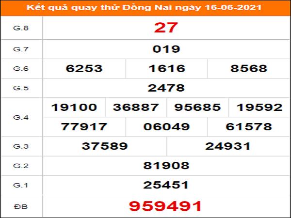 Quay thử Đồng Nai ngày 16/6/2021 thứ 4