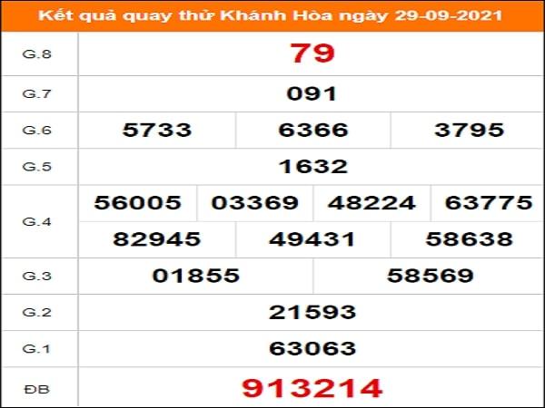Kết quả quay thử XSKH 29-09-2021